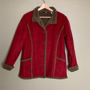 L. L. Bean red faux suede sherpa lined coat size S